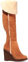 Schutz Dahna shearling-lined suede wedge knee boots