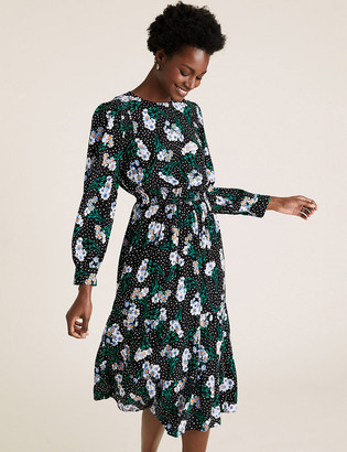 Marks and Spencer Floral Round Neck Midi Waisted Dress