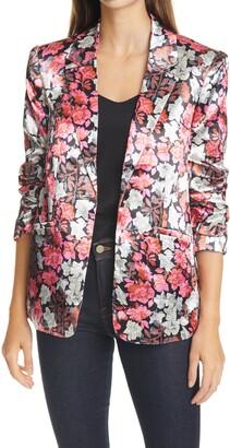 Cinq à Sept Kylie Ruched Sleeve Floral Satin Jacket