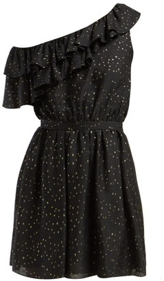 Saint Laurent Asymmetric Fil-coupe Silk-blend Mini Dress - Womens - Black Gold