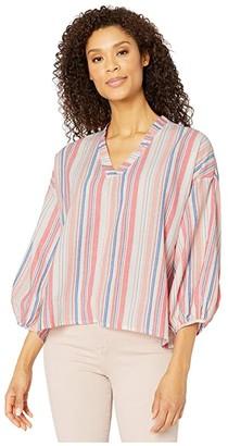 Mod-o-doc Cotton Stripe Shirting Peasant Blouse (Coral) Women's Clothing