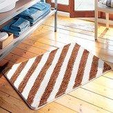 TideTex European Simple Style Stripe Splicing Livingroom Area Rug Non-slip Asorent athroom Rug rown White Foot Mats Doormat Cozy edroom Rug Pads (1'5x2'1, )