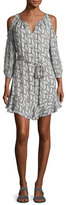Joie Isaline Feather Cold-Shoulder Dress, Gray