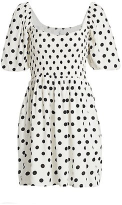 Faithfull The Brand Ilaria Polka Dot Puff-Sleeve Mini Dress