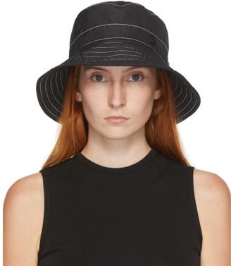 Maison Michel Black and White Topstitched Charlotte Bucket Hat