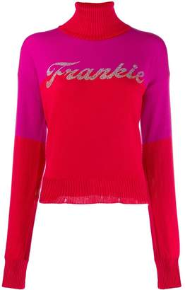 Frankie Morello embellished logo jumper