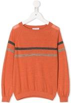 Brunello Cucinelli Kids slouchy chest stripe jumper