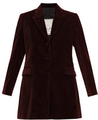 Giuliva Heritage Collection The Karen Tailored Cotton-velvet Blazer - Burgundy