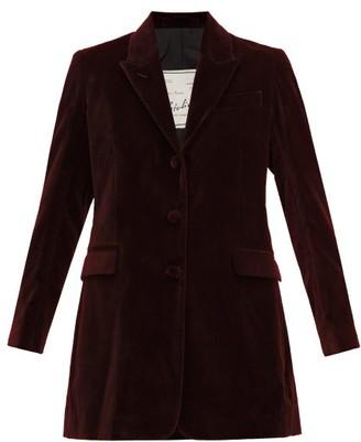 Giuliva Heritage Collection The Karen Tailored Cotton-velvet Blazer - Womens - Burgundy