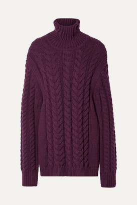 Tibi Open-back Cable-knit Wool-blend Turtleneck Sweater - Burgundy