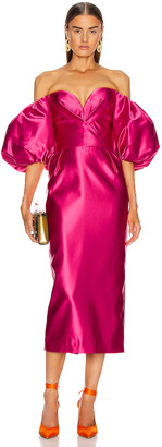 Rasario for FWRD Puff Sleeve Corset Midi Dress in Hot Pink | FWRD