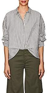Nili Lotan Women's Fulton Striped Cotton Poplin Shirt - Black, White stripe