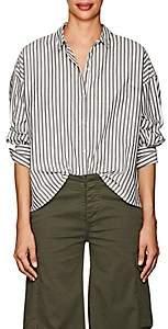 Nili Lotan Women's Fulton Striped Cotton Poplin Shirt-Black, White stripe
