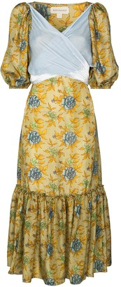 Rentrayage Pleated Floral-Print Silk Dress