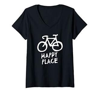 Womens Biking Is My Happy Place - Cycling Fiend - V-Neck T-Shirt
