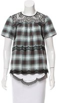 No.21 No. 21 Guipure Lace-Accented Plaid Top w/ Tags