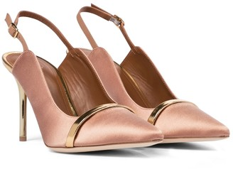 Malone Souliers Marion 85 satin slingback pumps