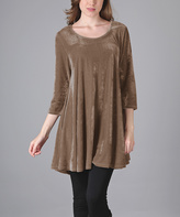 Aster Mocha Crushed Velvet Tunic - Plus Too