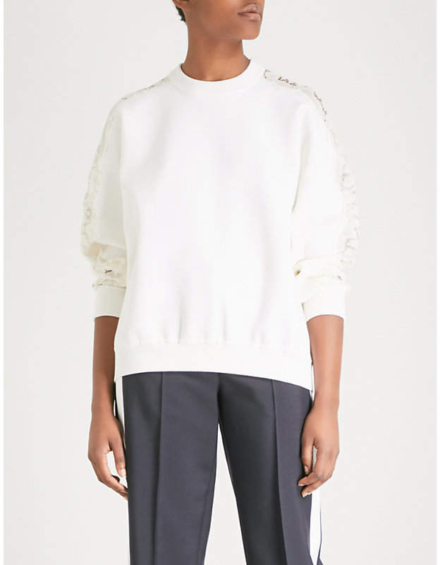 Givenchy Lace-panel wool-blend jumper