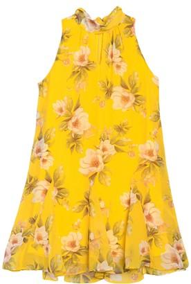 Taylor Floral Mock Neck A-Line Chiffon Dress (Petite)