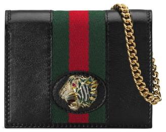 Gucci Rajah Calfskin Leather Card Case on a Chain