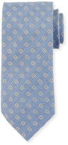 Eton Flower Neat Linen/Silk Twill Tie, Blue/Gray