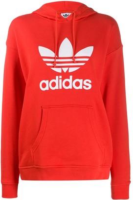 adidas Adicolor logo-print cotton hoodie