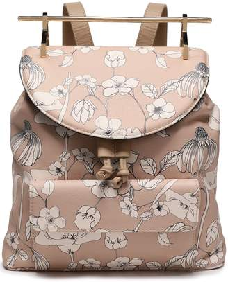 M2Malletier Printed Textured-leather Backpack