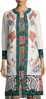 Oscar de la Renta Embroidered Bracelet-Sleeve Coat Topper, Beige