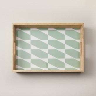 Indigo Colourblock Hexagonal Wood & Enamel Tray