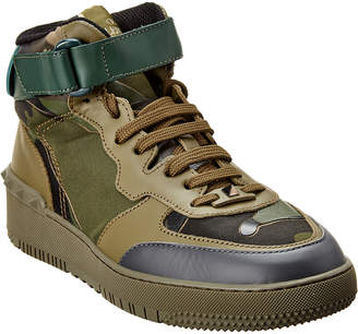 Valentino High-Top Canvas & Leather Sneaker