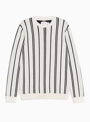 Topman Mens Cream Ecru And Black Stripe Sweater