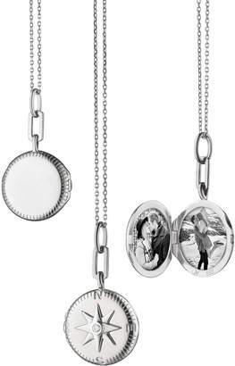Monica Rich Kosann White Sapphire Round Travel Compass Locket