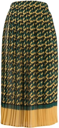 Elisabetta Franchi Logo Print Pleated Skirt