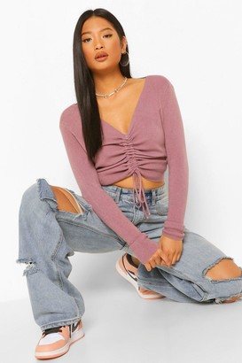 boohoo Petite Soft Knit Ruched sweater