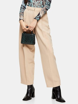 Topshop Elastic Back Peggy Slouch Trousers - Stone