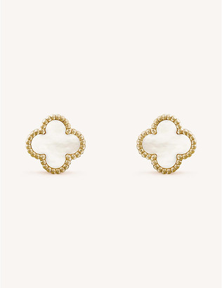 Van Cleef & Arpels Women's Yellow Gold Sweet Alhambra And Mother-Of-Pearl Stud Earrings