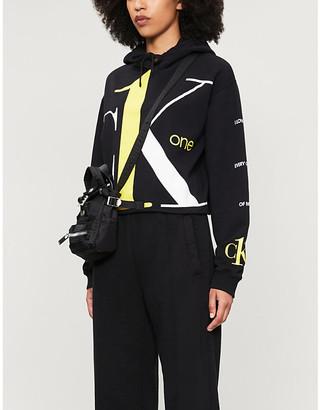 Calvin Klein One logo cropped cotton-jersey hoody