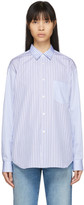 Comme des Garcons White and Blue Mixed Stripe Poplin Forever Shirt