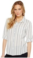 Dylan by True Grit Sea Stripes One-Pocket Roll Sleeve Shirt