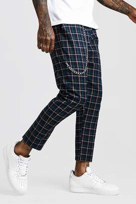 boohoo Tartan Check Cropped Jogger With Chain Detail