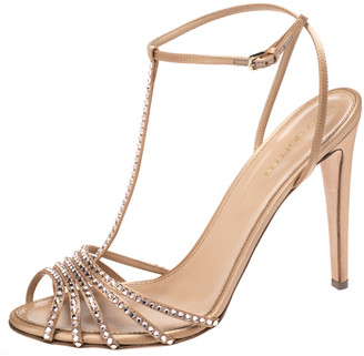 Sergio Rossi Beige Crystal Embellished Satin Shadows Ankle Strap Sandals Size 41