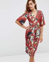Asos Obi Wrap Dress In Floral Print