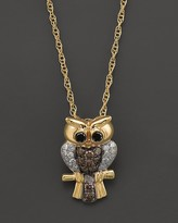 Bloomingdale's Brown, Black and White Diamond Owl Pendant Necklace in 14K Yellow Gold, .25 ct. t.w.