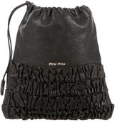 Miu Miu Leather Ruffle-Paneled Pouch