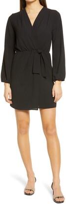 Fraiche by J Faux Wrap Long Sleeve Dress