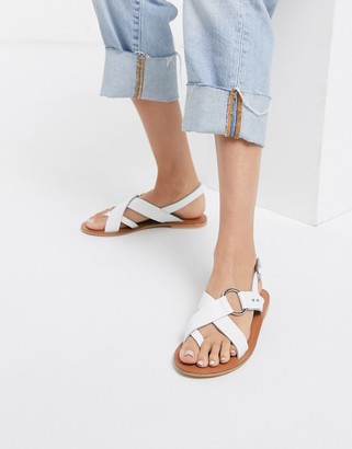 ASOS DESIGN Feel Good leather toe loop sandal in white
