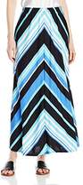 """Notations Women's Mitered Stripe Printed 34"""" Maxi Skirt"""