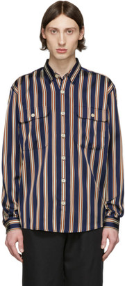Schnaydermans Navy and Off-White Striped Boxy Shirt