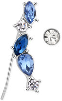 T Tahari Silver-Tone Blue and Clear Crystal Ear Climber with Stud Earrings